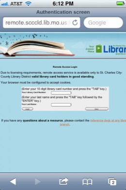 An example of what your library's login page might look like.