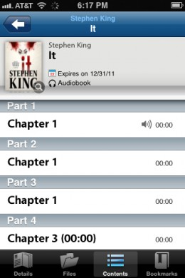 Content is broken out by chapter in the OverDrive Media Console app.