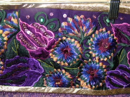 closeup of the beading and sequin work I did.