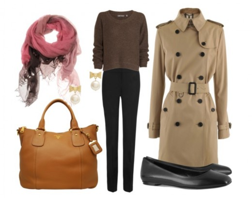 trench coat with pants and flats