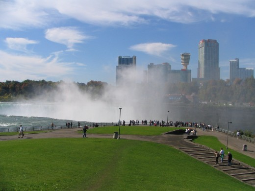 looking through the mist toward Niagara Falls, Ontario