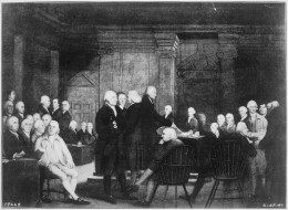 The Second Continental Congress voting independence