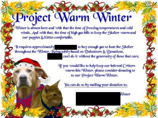 A flyer for a fundraiser to cover heating cost. Pictures taken by Cat R.