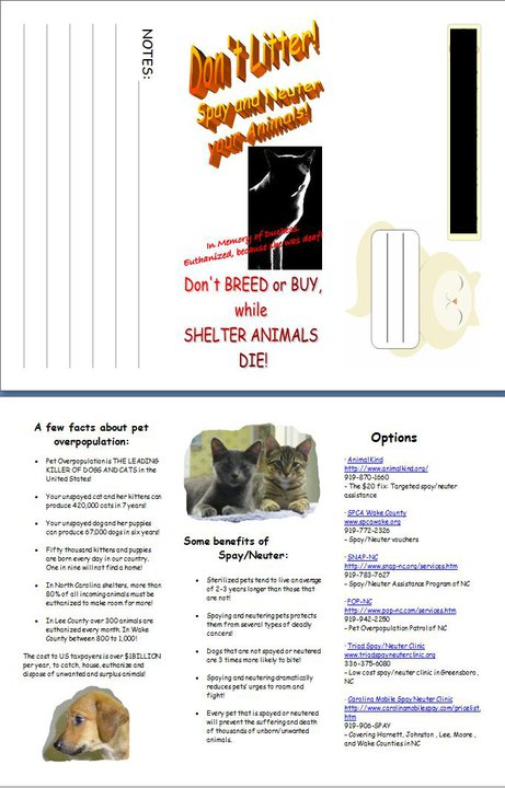 Hand-out created/updated for local rescue.