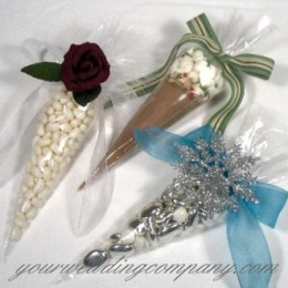 Fill plastic cone bags with hot chocolate, candy or other treats for a unique wedding favor.