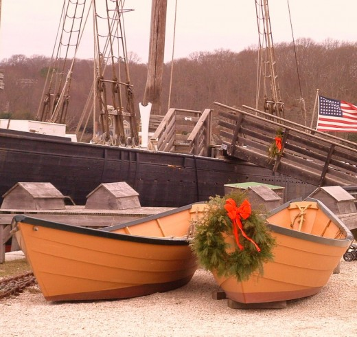 Photo of several of the boats in the 500 fleet collection owned by the museum.