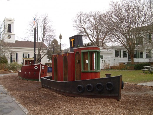 Photo of the nautical style children's playground.