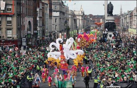 St Patrick's Day parade in Dublin.
