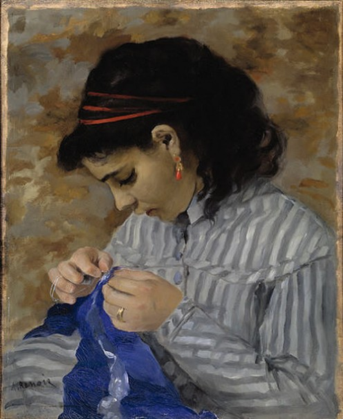 Lise Sewing - Oil painting by Pierre Auguste Renoir - 1866