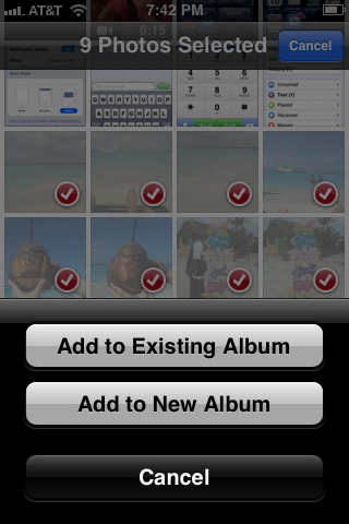 "Select ""Add to New Album"" to create a new album, or ""Add to Existing Album"" to add your selected photos to an existing album."