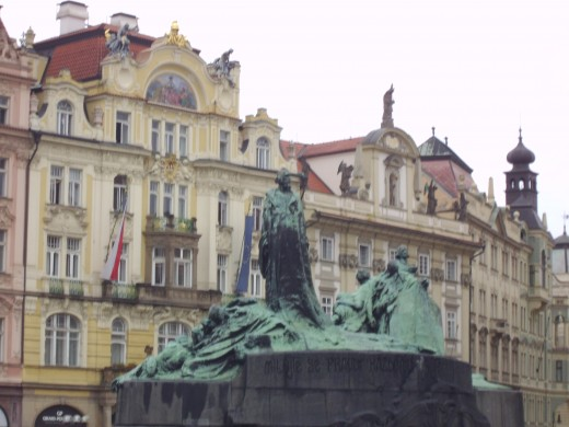 Jan Hus Monument in Prague Town Square