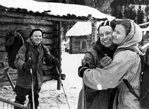 This photo shows Yuri Yudin hugging Lyudmila Dublinina before leaving the group due to illness. Looking on is Igor Dyatlov. This photo was taken from a roll of film that had been found at the incident site.