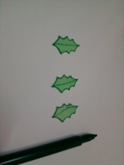 Part 2: Use green marker to draw the leaves outlines.