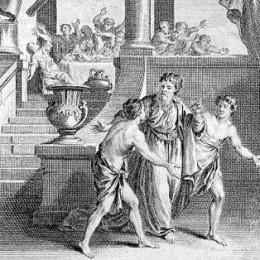 Simonides leaving the banquet hall.