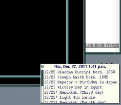 A xtick window that displays UNIX calendar appointments.