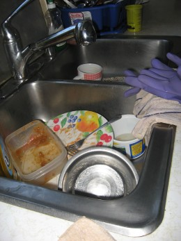 Not as badly cluttered for a small sink; but can get worst if not abated.