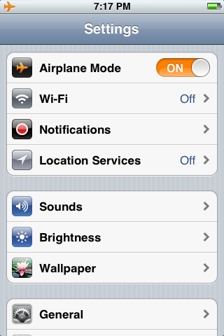 This is what your Settings screen will look like after enabling Airplane Mode.