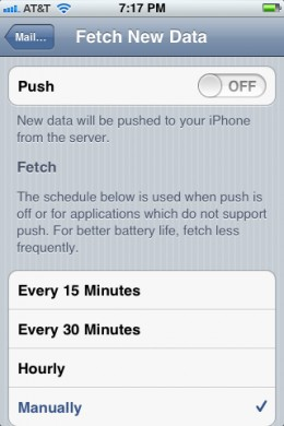 Turn off Push functionality and set your e-mail to fetch manually so no new automatically e-mails will be pushed to your iPhone.