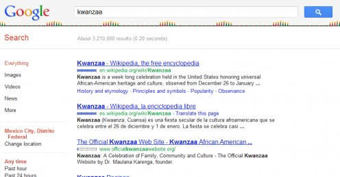 Google Kwanzaa results