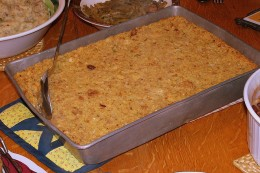 Chicken-less version of casserole with cornbread dressing