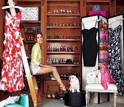 Eva Longoria in her wardrobe. Living every woman's dream?
