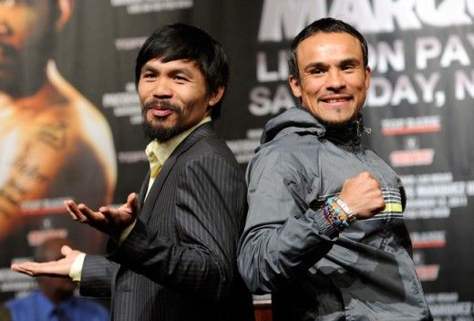 Manny Pacquaio and Juan Manuel Marquez at a press conference before their 3rd fight