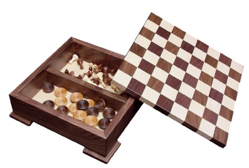 Wooden Checker and Chess Set