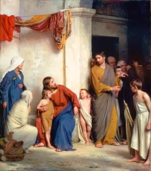 """Christ with Children"" - by Carl Heinrich Bloch (1800s)"