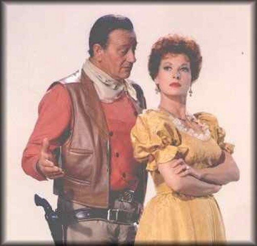 John Wayne and the ever-beautiful Maureen O'Hara.