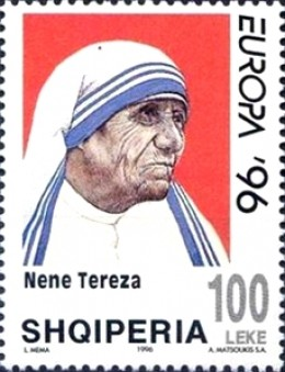 Two Albanian postage stamp featuring Mother Teresa