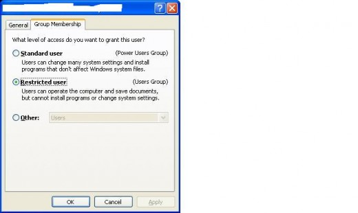The User Accounts dialog box in Windows XP Professional.