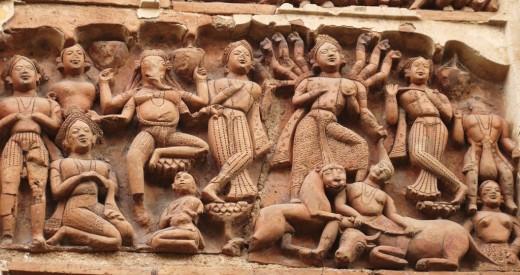 Goddess Durga among other deities
