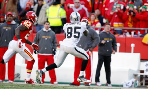 Raider wide receiver Darrius Heyward-Bey catches a 53-yard pass to set up Sebastion Janikowski's game-winning field goal in overtime.