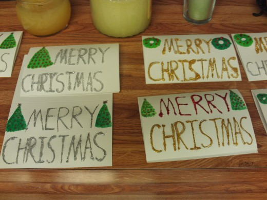 A few of the glitter glue Christmas cards I made by hand.