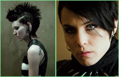 Rooney Mara (on left) and Noomi Rapace (on right) as Lisbeth Salander in the Girl With the Dragon Tattoo.