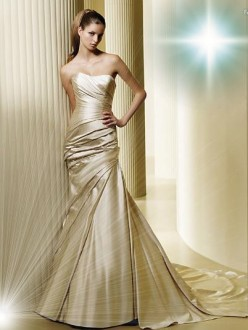 Gold Satin Mermaid Wedding Dress
