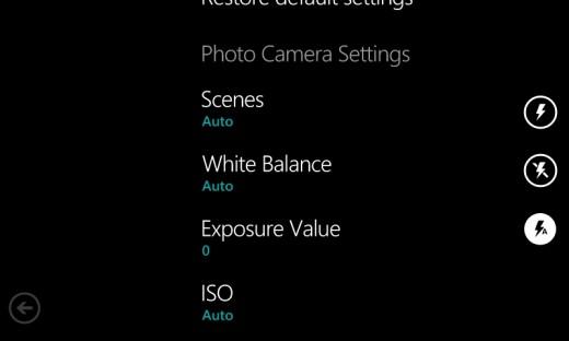 Camera settings Lumia