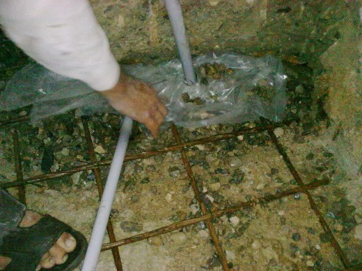 how to stop running water coming from the basement raft via concrete