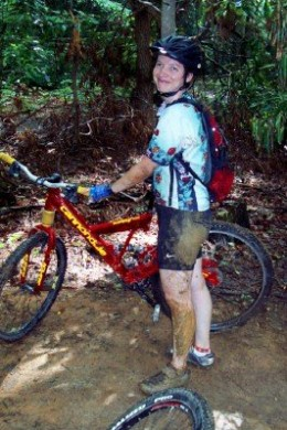 Don't be afraid to get muddy when mountain biking!  It's all part of the fun.