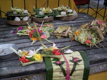 Offerings placed at temples and shrines