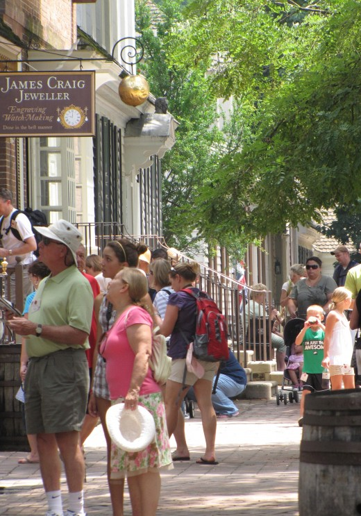 In Colonial Williamsburg, Virginia, shops and homes line Duke of Gloucester Street