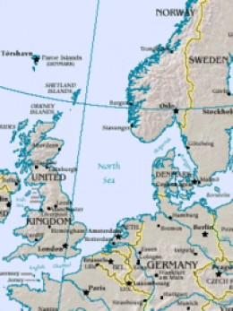 Britain and Northern Europe with Scandinavia, political map with modern names