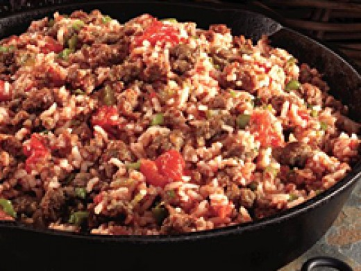 Sausage creole rice, simply add black eyed peas and heat just until hot.