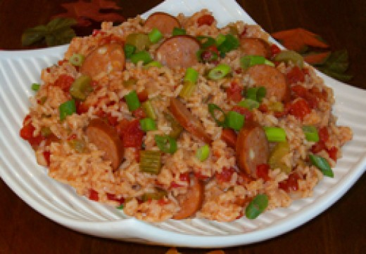 Creole rice with sausage, can also be made with shrimp or chopped chicken breast.