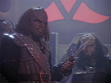 From the Star Trek series. Everyone's favorite Kingon, Worf, and his friend, Gowron