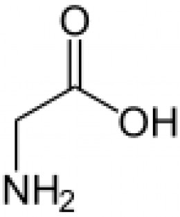 A glycine molecule. The two vertices between OH and NH2 represent the two carbon atoms. The two hydrogen atoms attached to the carbon directly above the NH2 group are not shown.