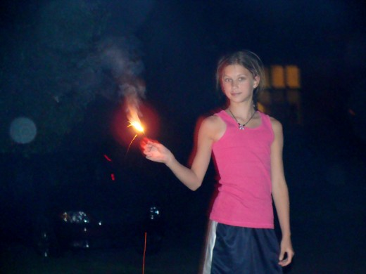 Celebrating with sparklers!