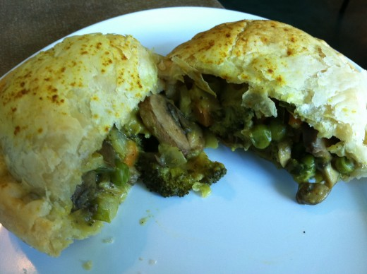 Aussie-Style hand pie from Boomerang's in Austin Texas, with curried vegetables