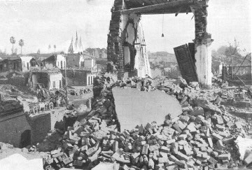 Heaps of rubble after the Bihar Earthquake in 1934