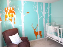 A blue nursery idea with girly & boyish potential. From BuyModernBaby.com.